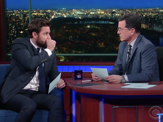 Krasinski, Colbert test fake vomiting skills