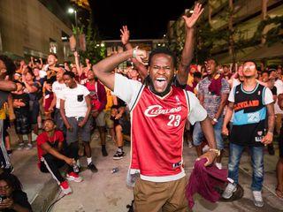 Cleveland fans celebrate Cavaliers' win