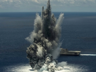 Navy video shows ship undergoing test explosion