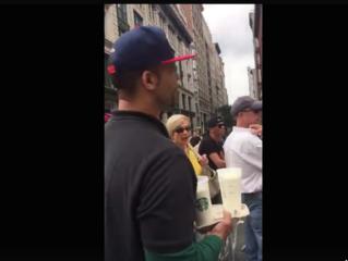 Citizen treats NYPD, NYFD on guard duty