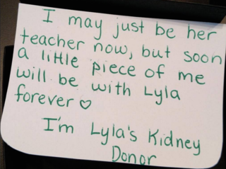 Teacher to donate kidney for 4-year-old student