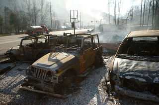 Wildfire aftermath in Gatlinburg, Tennessee