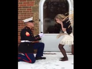 Marine surprises girlfriend with proposal