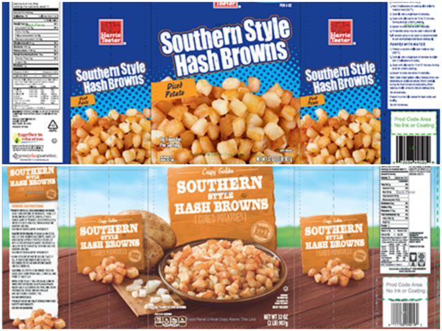 Golf ball pieces from harvest cause hash brown recall