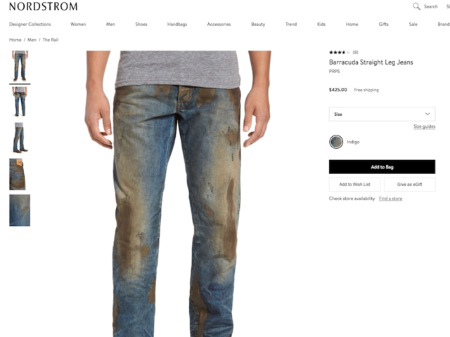 Nordstrom selling work jeans covered in fake mud for $425