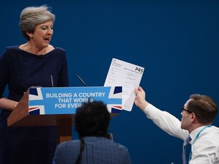 Theresa May's Conservative speech stumbles
