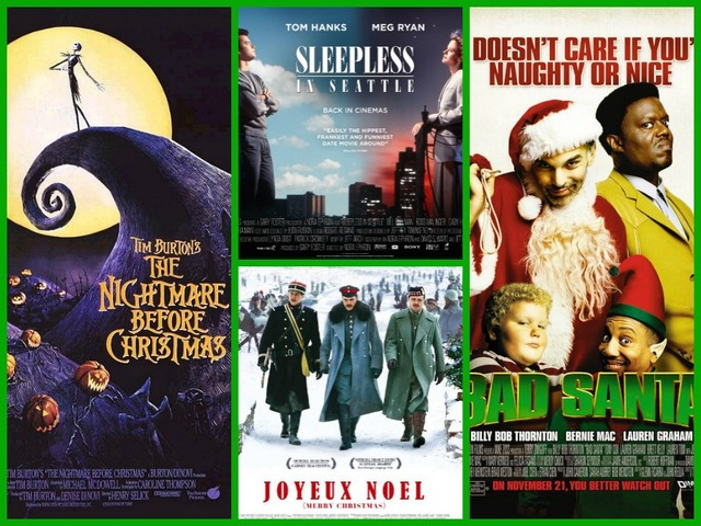 movie posters for the following films clockwise from left the nightmare before christmas walt disney pictures sleepless in seattle tristar - The Best Christmas Movies