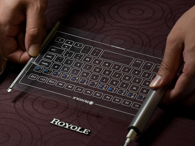 Royole S Flexible Keyboard That Can Connect To A Smart Device Is Displayed During Press Event For Ces 2017 At The Mandalay Bay Convention Center On