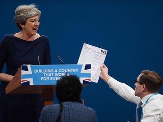 Theresa May's Conservative speech stumbles