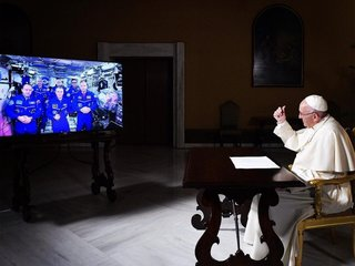 The pope discusses life with astronauts