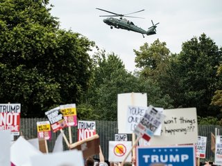 Trump says Brits like him as they plan protest