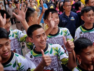 Rescued Thai boys make first public appearance