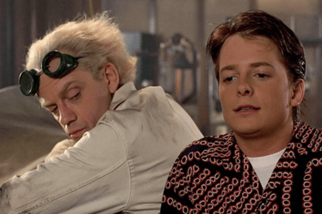 3d2f10d20d The 25 Most Memorable Sunglasses on Film 12 Source · Michael J Fox  Christopher Lloyd have mini Back to the Future